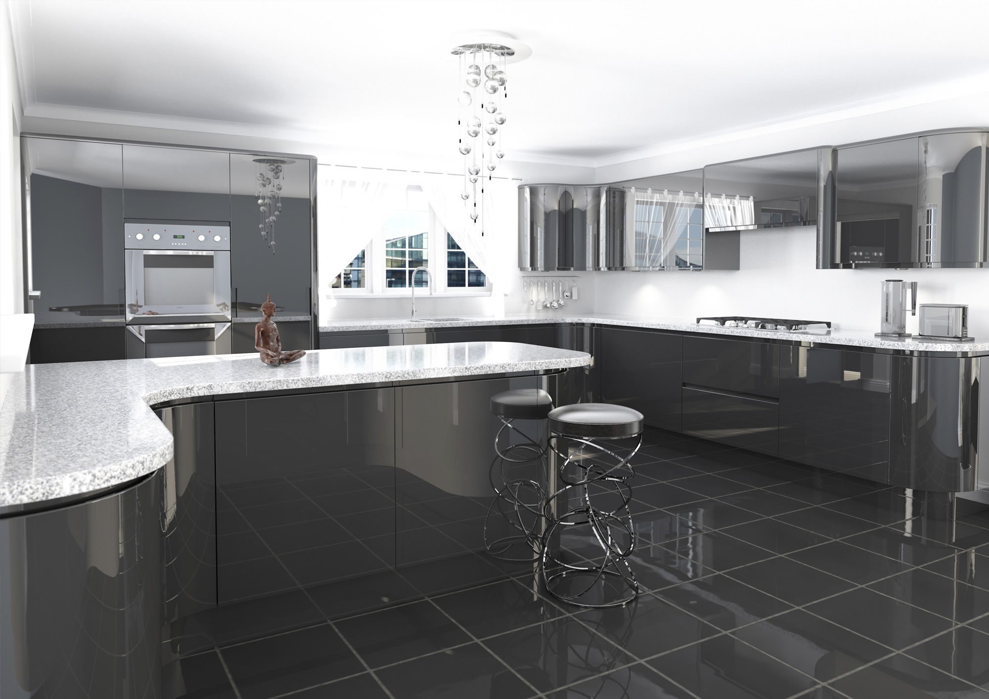 Jazi Gloss Anthracite - Anthracite grey kitchen